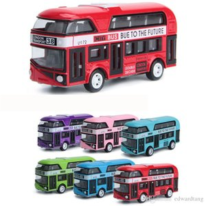 HT Diecast Alloy London Double-decker Bus, Sightseeing Car Model Toy, Pull-back, Ornament, for Christmas Kid Birthday Boy Gift, Collect, 2-2