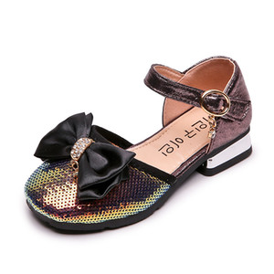 Girls Sandals Kids Shoes Summer Sequin Bowknot Kids Sandals Princess High-heeled Shoes Fashion Children Shoes Girls Footwear B4188
