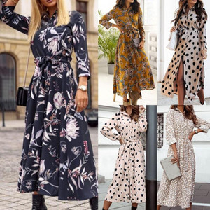Shirt Dress Polka Dots Floral Print Long Sleeve Spring Women Single-breasted Belt Maxi Dress Party Shirt for Party