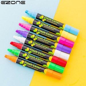 Highlighters EZONE Special Highlighter Pen Advertisement Erasable Whiteboard Liquid Chalk Marker Pe Escolar Stationery School Supply