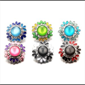 Ginger Snap Jewelry Flower Leaf Design Crystal Rhinestone Chunks 18Mm Snap Bracelet Noosa Buttons Women Snap Interchangeable Jewelry N Rqjb4