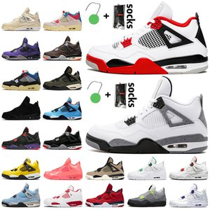 Nike Air Jordan 4 4s off white jordan retro 4 Travis Scott 4 PSG Jumpman mulheres dos homens tênis de basquete Carnaval Tribunal roxo Bred formadores brancos tênis