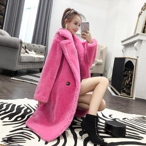 Women 2021 Winter New Fashion Real Sheep Fur Over Coat Female Solid Loose Casual Teddy Long Jacket Oversize Parka Outerwear L931