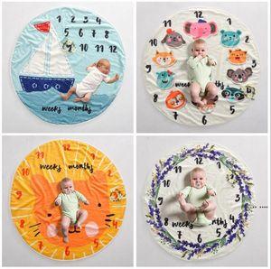 6PCS Kid Circular milestone Blanket photography background props Blankets infant Swaddling flower number letter newborn baby wraps HWA4139