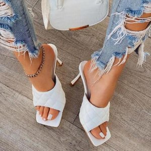 Quilted leather mules open toe design slip-on style high heel padded sandals pumps shoes for women sexy high heels slippers shoe