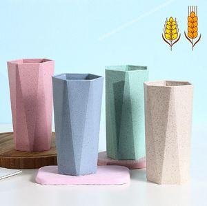 Yeni basit tasarım buğday samanı geometrik fırçalama fincan elmas şekli gıda sınıfı kupa fincan kahvaltı kahve süt buğday fincan deniz nakliye GWA3847
