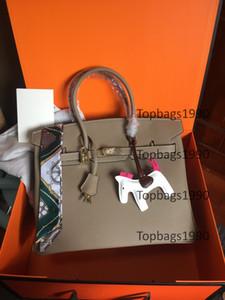 Модная сумка 35 см 30 см 25 см Женщины TOTE Сумки на плечо с штампованным замком Леди Натуральная кожаная сумка Skarf Horse Charm Бесплатная доставка