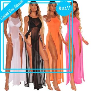 Echoine Summer Sexy Sheer Mesh Lake Although Elegant Cover-Ups Long Dress Beach Sliding Beachwear Bikini Set Women's Clothes