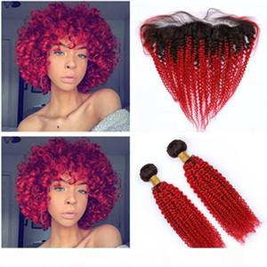 Ombre rouge vif Kinky boucly cheveux brésilien 2bundles et 3pcs frontal lot # 1b ombre rouge ombre bouclé 13x4 dentelle fermeture frontale avec tisseries