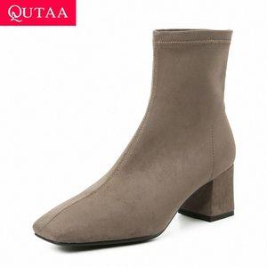 QUTAA 2020 Kare Ayak Ayak Bileği Çizmeler üzerinde Kayma Moda Kalın Topuk Özlü Kısa Boot Streç Sürüsü Casual Kadın Ayakkabı Size34 39 Çizmeler W V8MG #