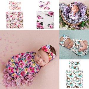 Newborn Baby Swaddle Blanket DIY Bow Headband 2 pcs Christmas Elk Sleeping Bag Wrap INS Toddler Flower Sleep Sacks Photography Prop