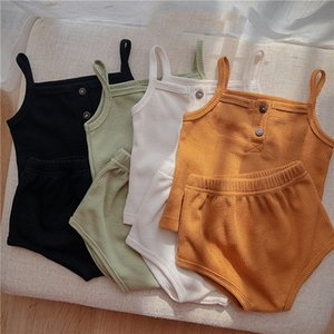 9 Colors Newborn Casual Clothing Sets Baby Summer Sling Top + Shorts 2pcs set Infant Soft Cotton Home Outfits M3310
