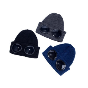 Two glasses goggles beanies men autumn winter thick knitted skull caps outdoor sports hats women uniesex beanies black grey cap