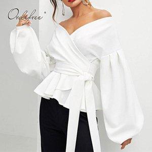 Ordufree 2021 Sonbahar Yaz Kadınlar Beyaz Bluz En Uzun Kollu Zarif Lady Ofis Bluz Ile Kemer Seksi Kadın Gömlek