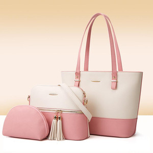 Fashion new pure color mother and son bag European and American style mother son bag three piece set women's simple