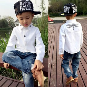 2019 Children Fashion Shirt Kids Clothes Spring Autumn Boys Cotton White Blouses Long Sleeve Dragonfly Shirt Turn-down Collar 210305