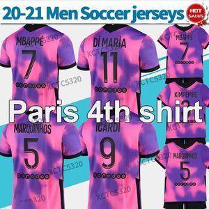 Uomini + Bambini 2021 Maillot Paris 4a Purple Soccer Jerseys # 7 Mbappe 20/21 # 9 Icardi Men Paris Costume da bagno Camicia da calcio personalizzata in magazzino