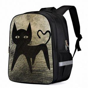 Cat On Mottled Metal Background Laptop Backpacks School Bag Child Book Bag Sports Bags Bottle Side Pockets A09O#