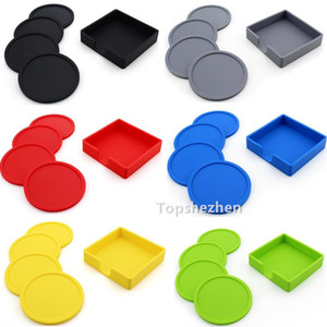 4pcs Set Silicone Coasters Non-Slip Cup Coasters Heat Resistant Cup Coaster With Holder For Tabletop Protection Fits Size Drinking Glasses
