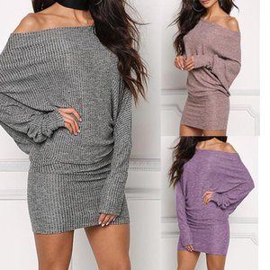 Casual Dresses Spring Autumn Bodycon Kniting Dress Batwing Sleeve Winter Slimming Solid Sexy