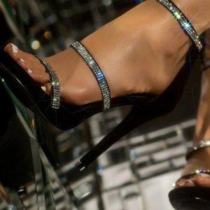 Yiciya Yeni Ayakkabı Seksi Kadın Gladyatör Sandalet Kristal Ince Yüksek Topuklu Açık Yüksek Topuklu Pompa Ayakkabı