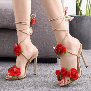 Summer Thick High Heels Sandals Women With Rose Decoration Lace Up Dressing Pumps Sexy Party Shoes Woman Fashion Design G3 50i9#