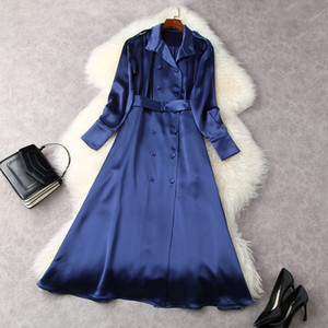 2021 Spring Long Sleeve Lapel Neck Blue Pure Color Belted Double-Breasted Dress Elegant Casual Dresses LF2511852