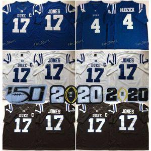 NCAA Duke Blue Devils College #17 Daniel Jones Jersey Home Blue Black White 4 Myles Hudzick Stitched 150th Football Jerseys Shirts S-XXXL