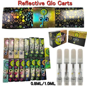 Reflective GLO Extracts Vape Cartridges 0.8ml 1ml Empty Vapes Pen Packaging Atomizers 510 Thread Thick Oil Carts Glass Tanks Ecigs Vaporizer Pens 20 strains