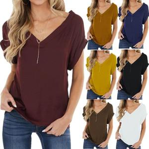 Sommer Mode Frauen Chiffon T-shirt Feste Farbe Kurzarm Top Sexy Backless Lose Streetwear 3XL Plus Größe Casual T-Stück 2021