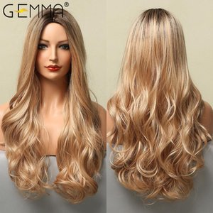 Synthetic Wigs GEMMA Long Body Wave Omber Brown Blonde Highlight For Women Natural Middle Part Cosplay Heat Resistant Fiber