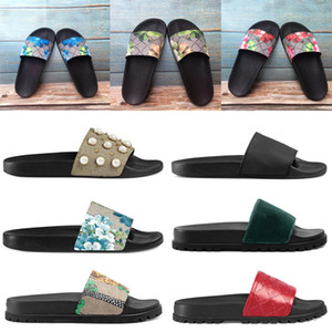2021 Designer Men Women Sandals blue green red flower animals snake Summer sandals Slide Fashion Flip Flops Wide Flat Slippery Slipper box