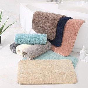 Plush Simplicity Household Doorway Bedroom Carpet Mat Bathroom Thicken Anti-slip Absorbent Foot Mats Kitchen Polyester Rectangle OWF10130