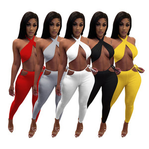 Women sexy two piece sets halter sleeveless crop top solid color Tracksuit fashion summer clothing plus size outfits free shipping 4548