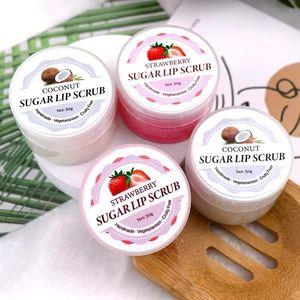 Strawberry &Coconut Lip Scrub Lips Mask Exfoliating Balm Moisturizer Nourish Plumper Enhancer Vitamin Wrinkle Natural Skin Care