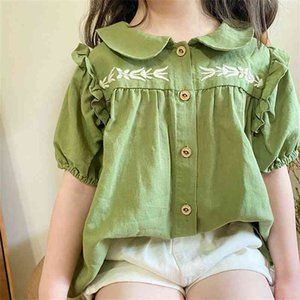 Summer cute embroidery green short sleeve shirts for girls loose doll collar thin cotton Tops 210708