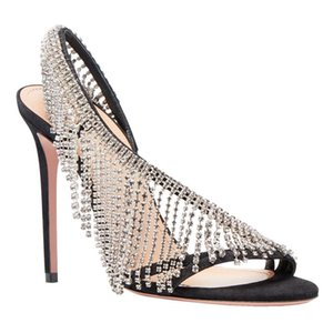 Handmade Rhinestone Fashion Women Sandal Thin Heel High Heels Sandals 2021 Summer Shoes Woman Black Banquet Pumps Sandalias Shoe
