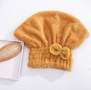 Coral Fleece Bath Hat Magic Hair Dry Drying Turban Wrap Towel Hat Water Absorption Quick Dry Bath Cap Bow Make Up Towel HWC5575