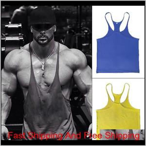 2020 New Men Gym Singlet Stringer Muscle Tank Tops Fitness Sport Shirt Mens Fitness Singlet Sleevel qylDLA my_home2010