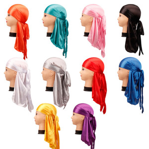 Men's Silky Durags Bandanas Turban hat Wigs Doo Men Satin Durag Biker Headwear Headband Hair Accessories Extra Long Tail Du-Rag