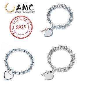 High quality brand sterling silver 925S classic fashion ladies bracelet original heart key bracelet with original engraved female jewelry