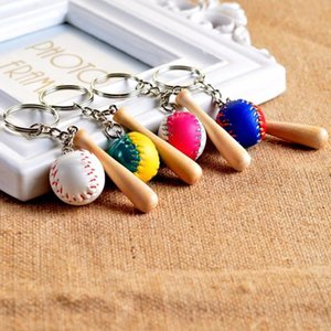 100pcs Lot Lovely Mini Baseball Keychains Baseball Bat Keyrings for Sports Gifts Ball Key Chains Ring Free Shipping By
