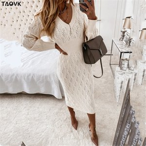 TAOVK Women's Solid color Costume Knitted V-neck Hollow Lantern Sleeve Knit Dress 210222