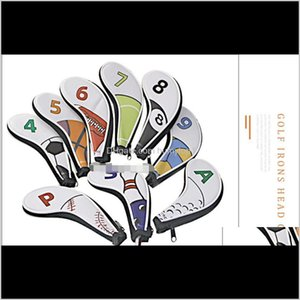 New Designer Golf Iron Cover, Club Head Cover, Digital Zipper Sports Ball Pattern Protective Cover, Pu Waterproof 9 Pcs Group Color Qh Las3V