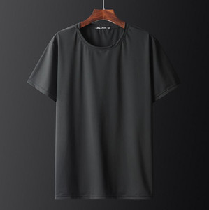 Ice silk T-shirt men plus fat plus size fat seamless quick-drying short-sleeved running sports breathable shirt thin