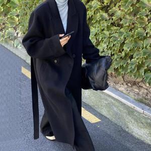 SNORDIC FEMMES AUTOMNE Automne Hiver Loable Longue Laine manteau Jacket Bande Notched collier de laine Cardigan fractionné