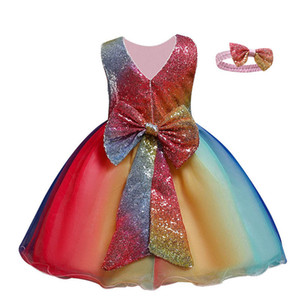 Rainbow Girls Dresses Headbands 2Pcs Sequin Large Bowknot Princess Baby Girl Dress Tutu Formal Dresses Party Kids Clothes 1-5Y B4039