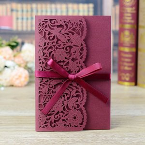 50pcs Elegant Laser Cut Wedding Invitation Card Lace Flower Greeting Card Customize With RSVP Card Ribbon Wedding Party Supplies