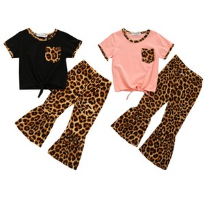 Toddler Baby Girl Clothes Cotton T-Shirt Tops Leopard Bell Bottoms Flare Pants Kids Outfit Clothes Set Fashion Clothes 210304