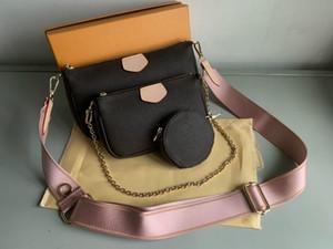 2021 femmes véritable cuir marron trois pièces costume sac à bandoulière mode mode luxurys designers sacs sacs sacs à main multis pochette sacs